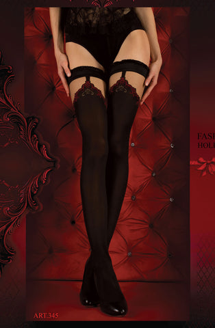 B345 Black & Red Faux Suspender Ruffle Hold Ups