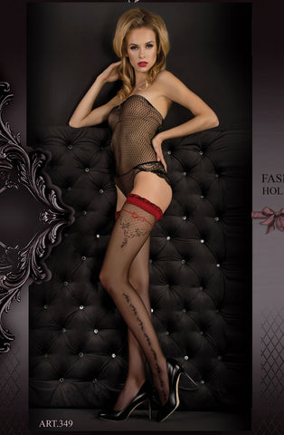 B349 Black & Red Ruffle Top Hold Ups