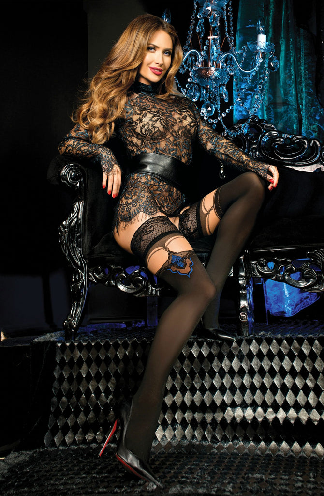 B443 Black/Blue Mock Suspender Hold Ups