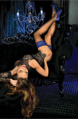 B445 Blue Top Hold Ups - BB Lingerie