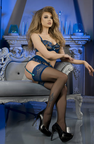 B475 Black & Navy Lace Top Hold Ups