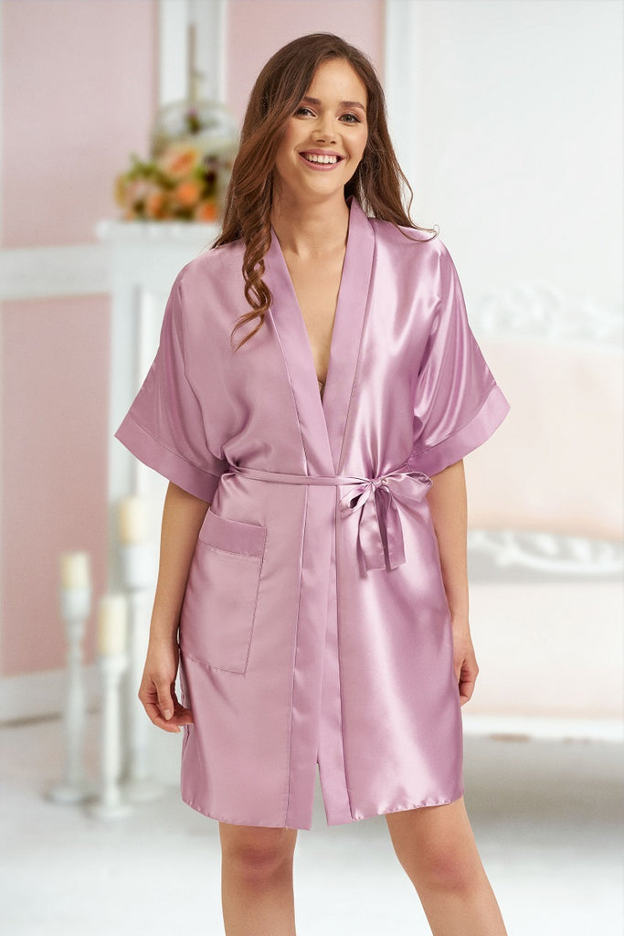 Kendall Purple Satin Robes - BB Lingerie