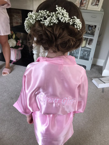 Personalised Childrens Kids Satin Robe Kimono Dressing Gown Gift UK Bridalicious