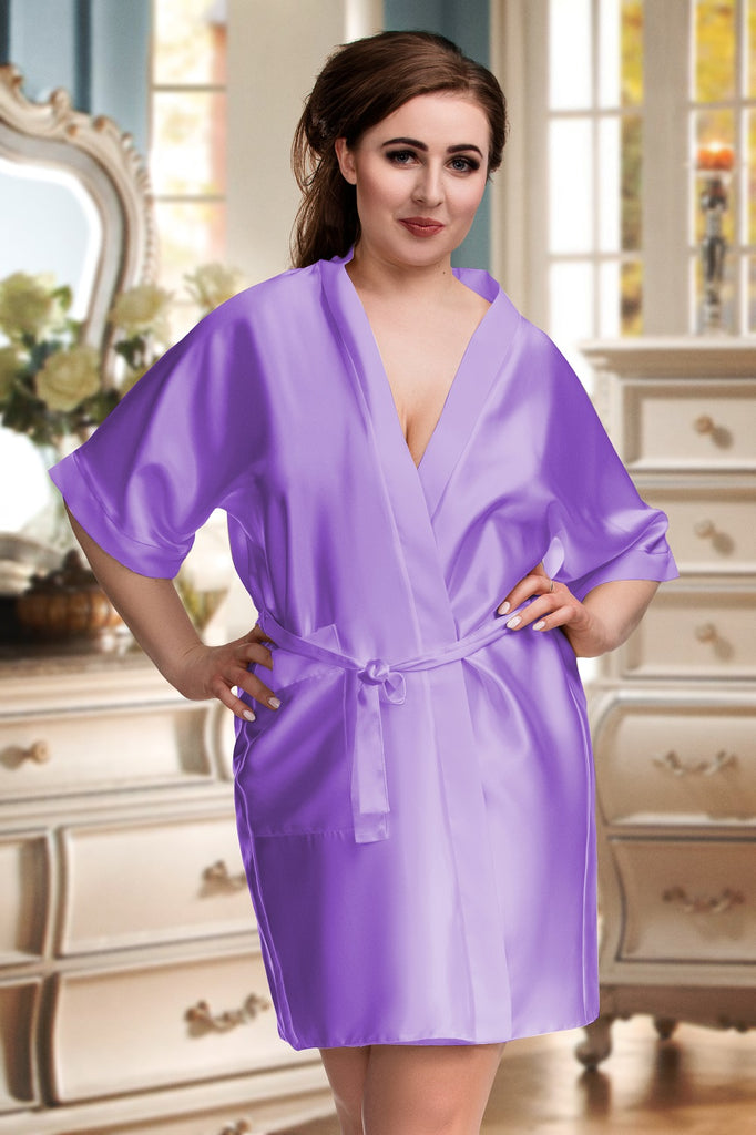 Lilac Personalised Satin Bridal Robe Dressing Gown Customised Personalized Wedding Day Cheap Bridesmaid Plus Size