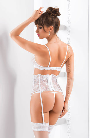 Sexy Fetish Erotic Bridal white set beautiful soft cup delicate sheer lace demi shelf bra suspender belt thong peekaboo see through retro burlesque lingerie set UK Bridalicious