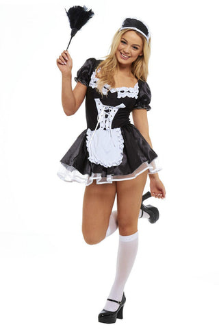 New Sexy Ladies French Maid fancy costume outfit dress bow soft fabric UK Bridalicious