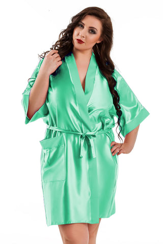Kendall Mint Green Satin Robe - BB Lingerie
