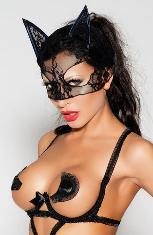 Sexy Black Halloween fancy costume accessory seductive black lace mask satin edge finishing ears zombie cat witch ghost party gift for her cheap price under £15 UK Bridalicious