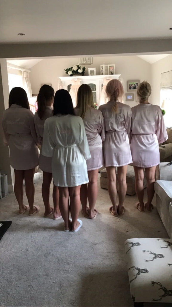 Personalised Satin Bridal Robe Dressing Gown Customised Personalized Wedding Day Cheap Bridesmaid Plus Size