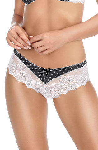 Sexy Black Ivory Brief Knicker rich embroidered lace soft polka dot UK