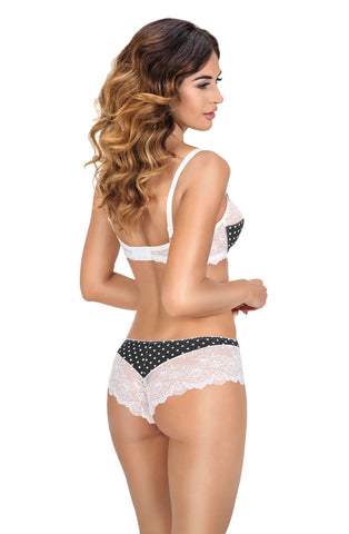 Sexy Black Ivory Ewolet Soft Cup Bra embroidered lace polka dot design