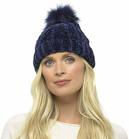 Chenille Hat with Fur Bobble