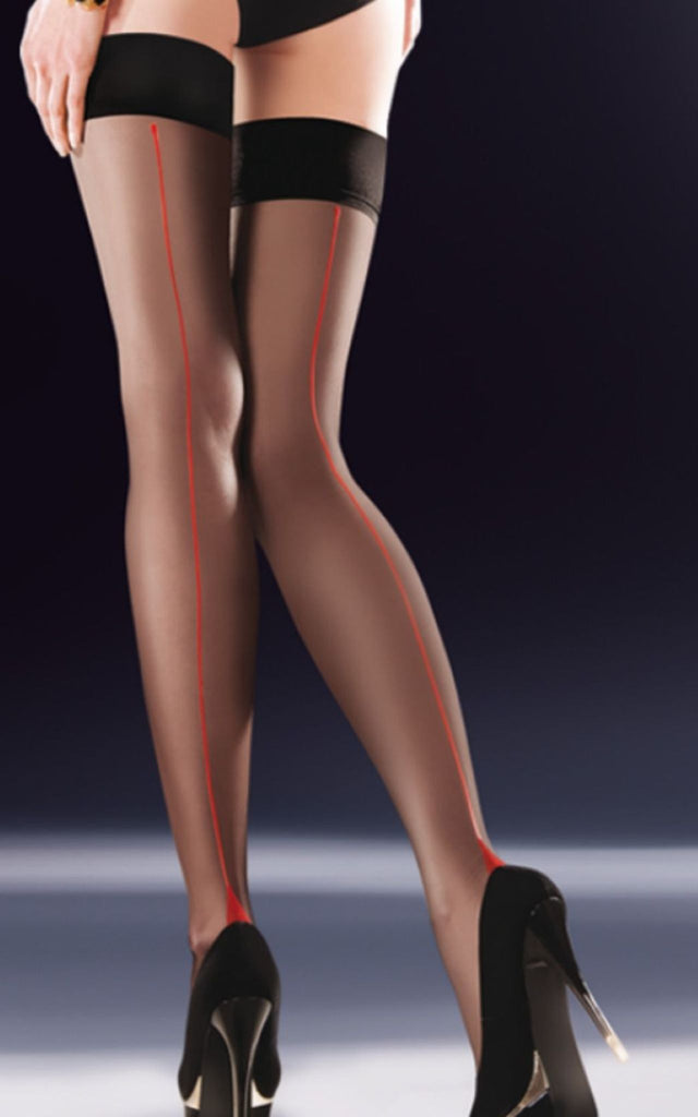 Black Hold Ups with Red Cuban Heel & Backseam - BB Lingerie