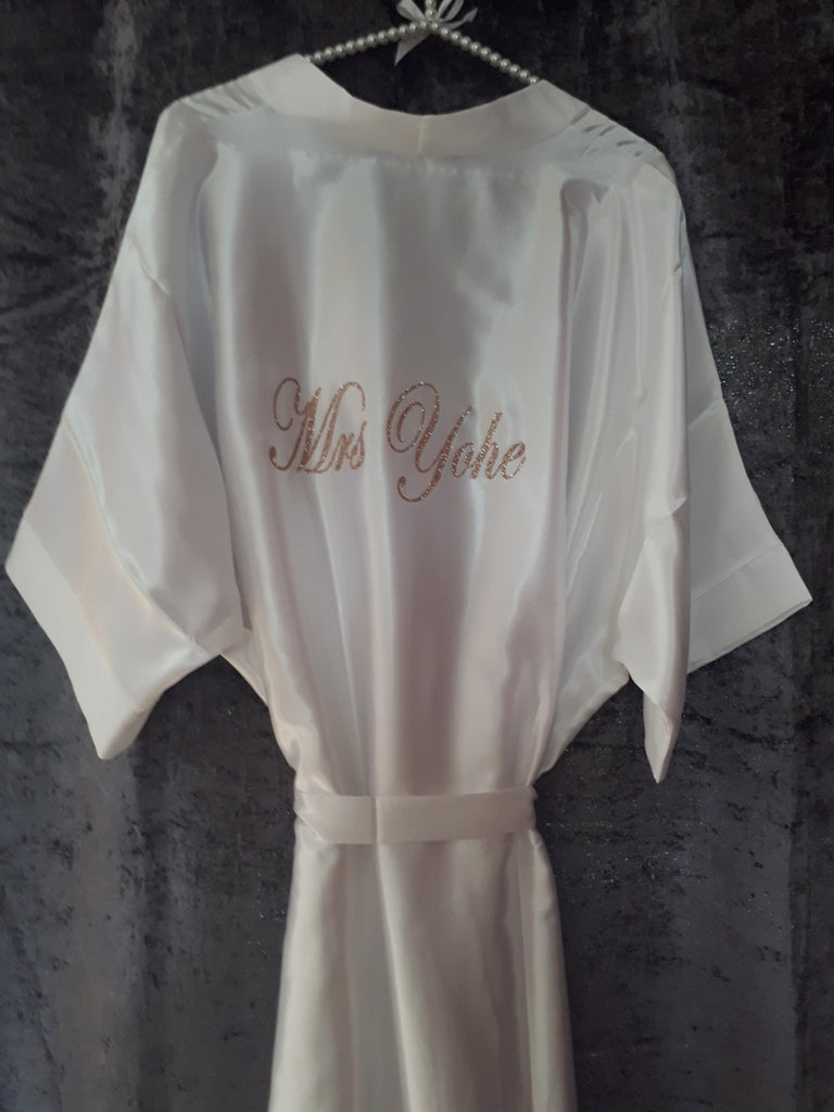 Rose Gold Cute satin Bridal Party Robes for Wedding Day Morning Personalised for special touch/gift for your bridesmaids.Pretty crystals at cheap price up to Plus Sizes