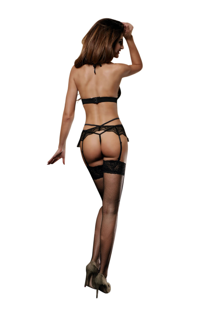 Sexy Black fetish Really nice 4 piece black set including lace bra with pretty pink bow matching suspenders, thong and sexy stockings. Bridalicious UK