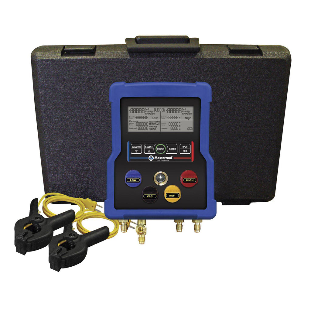 Mastercool 4 Valve Digital Manifold With Thermocouples 99903-02-Refrigerant Gauges-Mastercool-Cool Tools HVAC-R