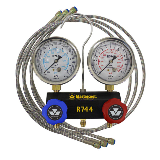 Mastercool Aluminum Manifold 80mm Oil Filled Gauges for CO2 150cm Steel Braided Hoses 55661G-Refrigerant Gauges-Mastercool-Cool Tools HVAC-R