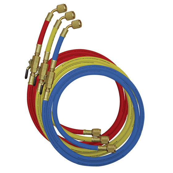 "Mastercool 150cm Hose Set of 3 - 1/4"" w/Ball Valve 90262-60-Refrigerant Hoses-Mastercool-Cool Tools HVAC-R"