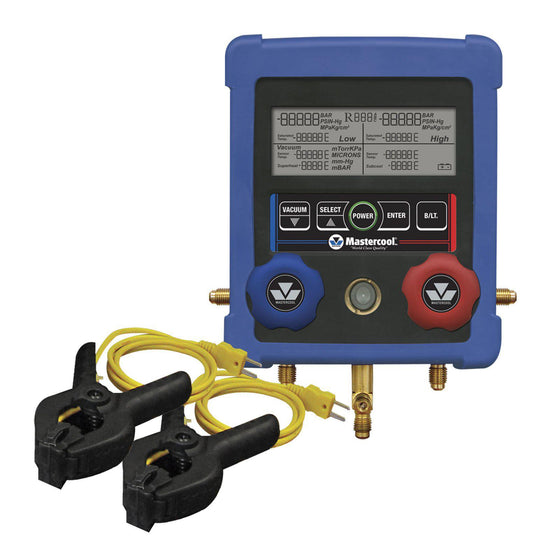 Mastercool 2 Valve Digital Manifold With Thermocouples 99103-A-2-Refrigerant Gauges-Mastercool-Cool Tools HVAC-R