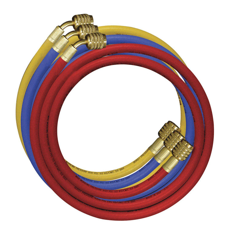 "Mastercool 90CM Hose Set of 3 - 2 x 1/4"" to 5/16"" & 1 x 1/4"" 49336-JT"