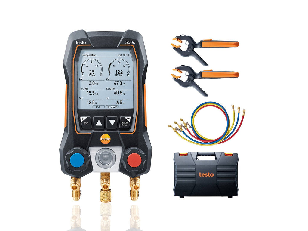 Testo 550s Smart Digital Manifold with Wireless Clamp Temperature Probes and Hose Filling Set - 0564 5503