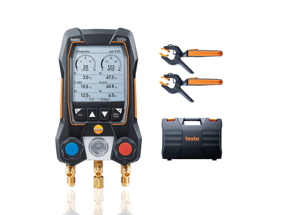 Testo 550s Smart Digital Manifold with Wireless Clamp Temperature Probes 0564 5502