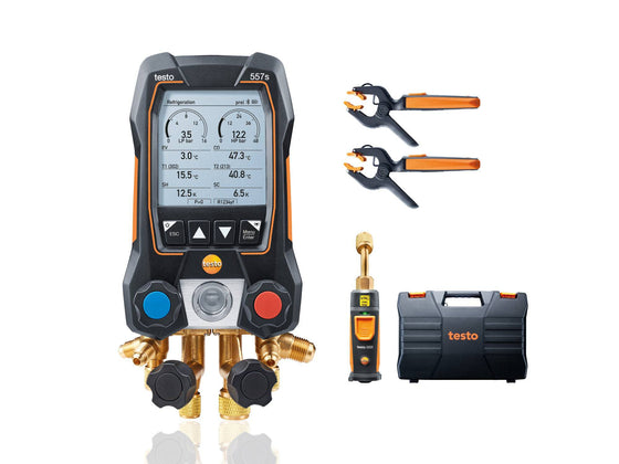 Testo 557s Smart Digital Manifold with Wireless Vacuum and Clamp Temperature Probes 0564 5571