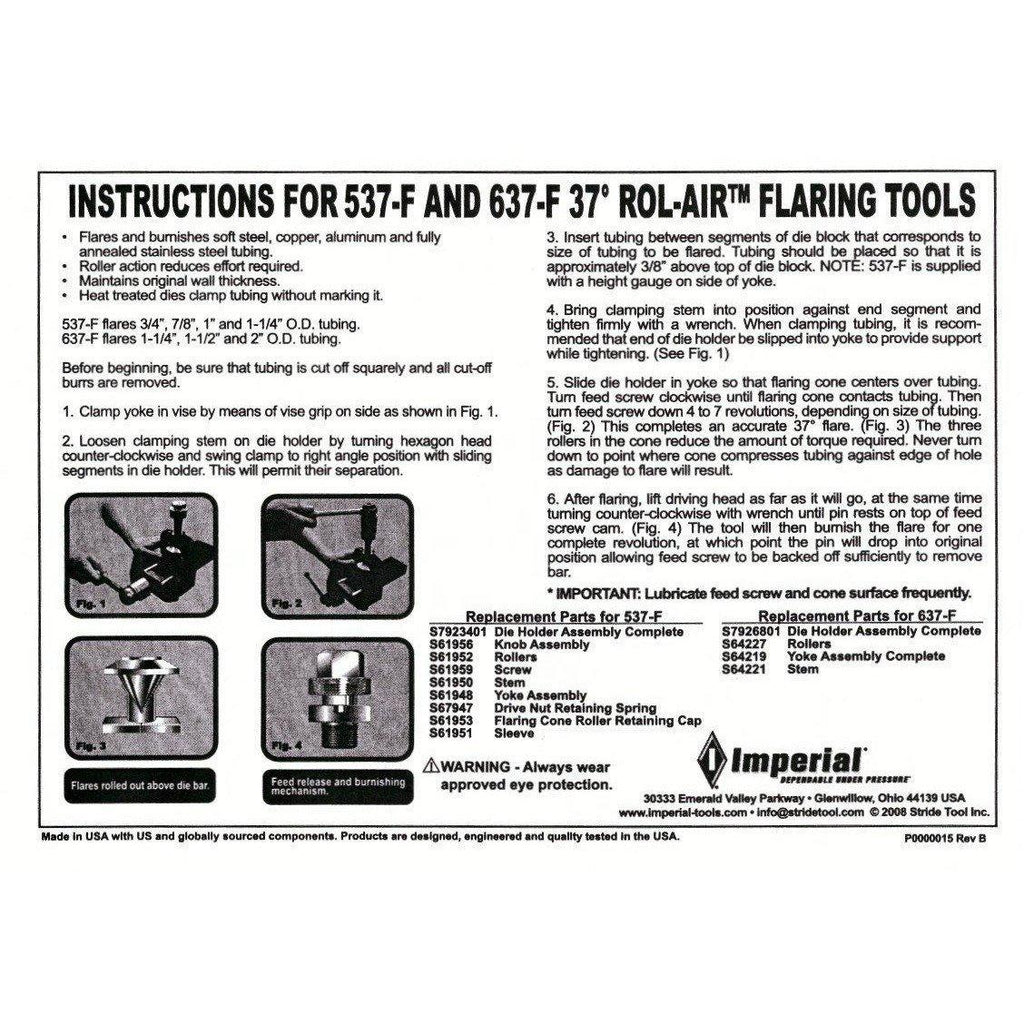 "Imperial 37° Flaring Tool Kit for tube 1-1/4"", 1-1/2"" & 2"" CODE: 637-F-Imperial-Cool Tools HVAC-R"
