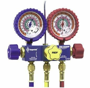 "Imperial 700 Gauges Three Valve Manifold 60"" Hoses - 1/4"" & 5/16"" SAE-Refrigerant Gauges-Imperial-Cool Tools HVAC-R"
