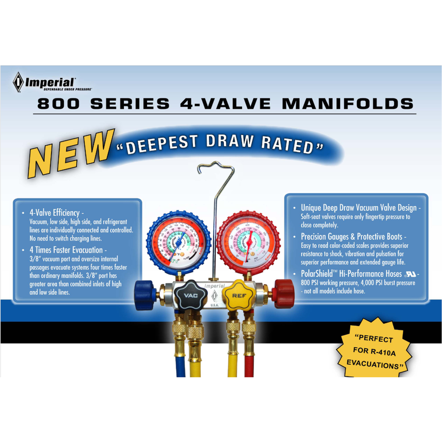 Imperial 800 Gauges Four Valve Manifold - Manifold Only-Refrigerant Gauges-Imperial-Cool Tools HVAC-R