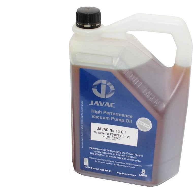Javac N15 Light General Purpose - 5 Litre Vacuum Pump Oil - OIL15
