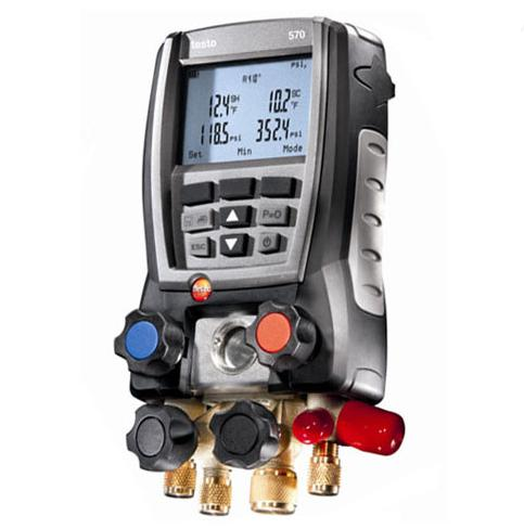 Testo 570-2 Digital Refrigeration Gauge Manifold w/ Data Logging 2 Clamp T/Couples-Refrigerant Gauges-Testo-Cool Tools HVAC-R