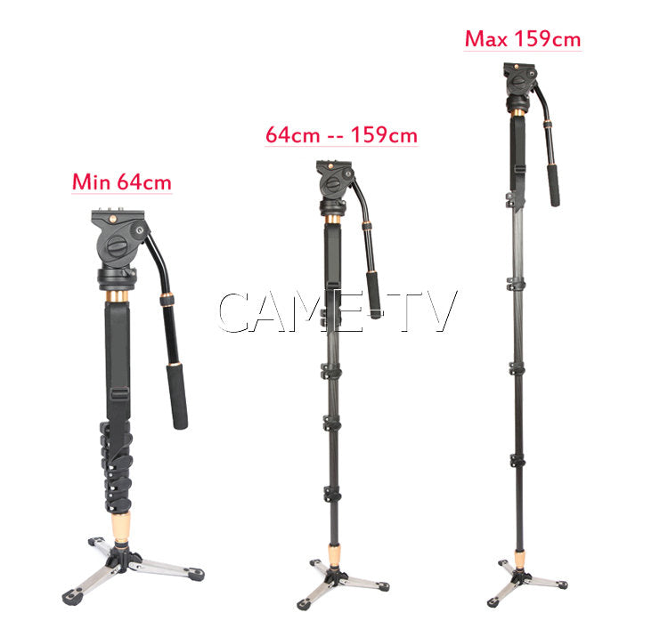 CAME-TV Carbon Fiber Monopod Fast Change Height Fluid Head
