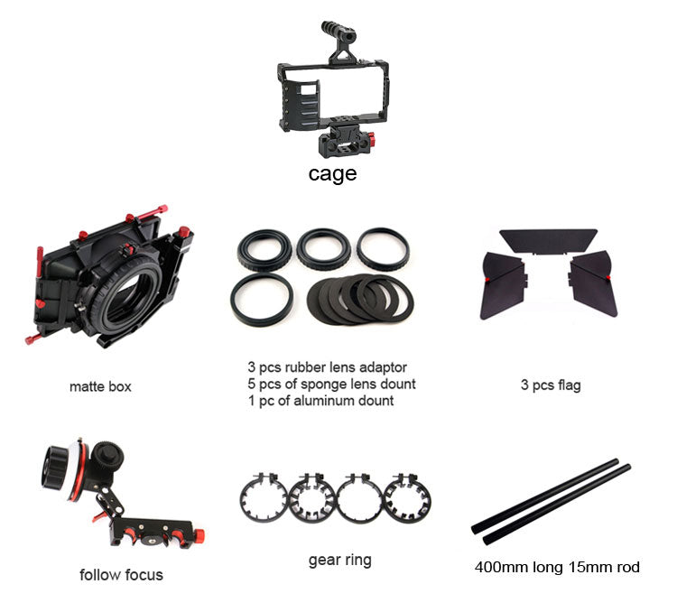 CAME-TV BMPCC Rig Mattebox A/B Follow Focus 15mm Rod For BlackMagic Pocket Cinema Camera