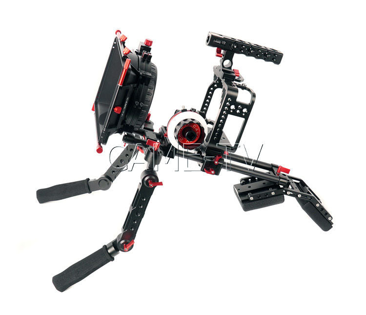 CAME-TV Protective Cage for 5D2, 5D3, 5D4 Camera Rig with Handle, Mattebox, Follow Focus & Hand Grip Support