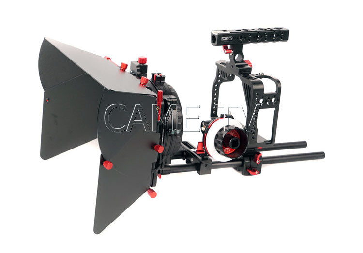 CAME-TV Protective Cage for 5D2, 5D3, 5D4 Camera Rig with Handle, Mattebox and Follow Focus