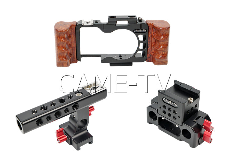 CAME-TV Rig for Sony a6300 Camera Cage with Wooden Handle