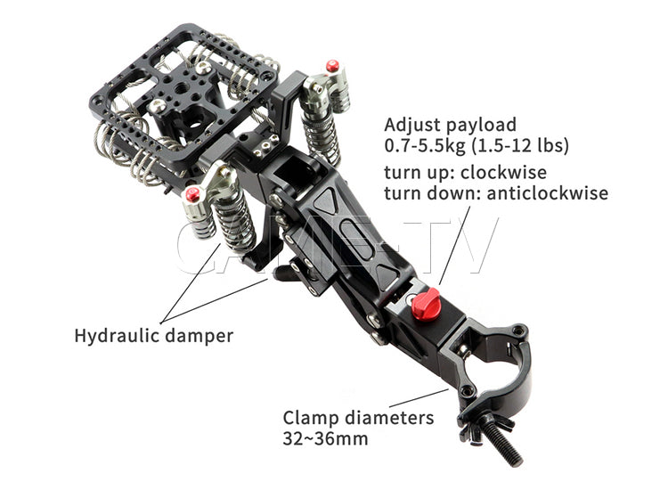 CAME-TV 1.5-12 Lbs Load Camera Video Stabilizer Single Arm