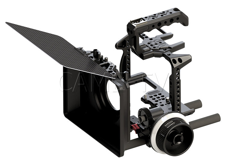 CAME-TV Panasonic Lumix DC-S1H Rig 15mm Follow Focus Rod System and Matte Box With Carbon Fiber Flag Package
