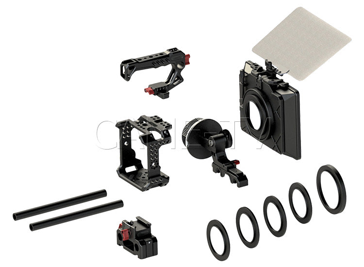 CCAME-TV Z Cam E2 Cage Kit, 15mm Follow Focus Rod and Matte Box With Carbon Fiber Flag Package