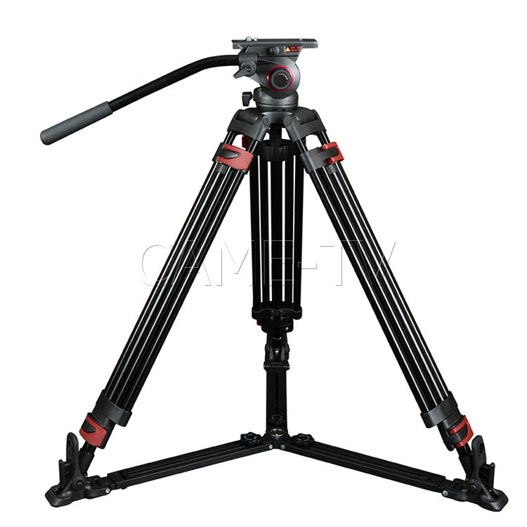 CAME-TV Aluminum Video Tripod With Fluid Bowl Head Max Load 33 Lbs