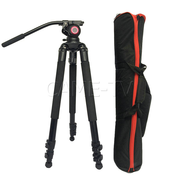 CAME-TV Aluminum Video Tripod With Fluid Bowl Head Max Load 55 Lbs