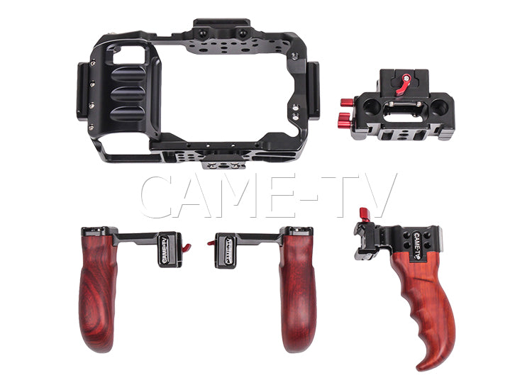 CAME-TV Rig For Blackmagic Pocket Cinema Camera 4K With Wooden Handles