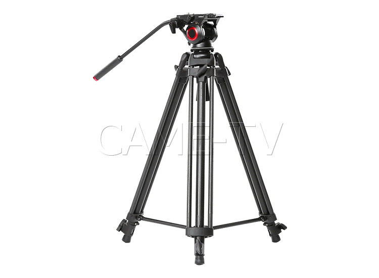 CAME-TV Carbon Fiber Fiber Video Tripod With Fluid Bowl Head And Spreader Max Load 22 Lbs 606C