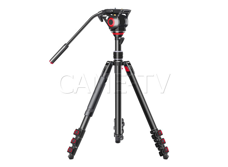 CAME-TV Carbon Fiber Tripod With Fluid Head Max Load 22 Lbs 801C