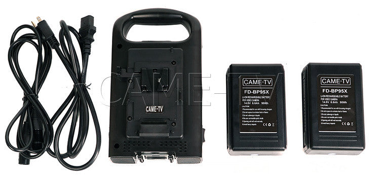 CAME-TV V-Mount Battery Charger With Two 95 Watt Batteries