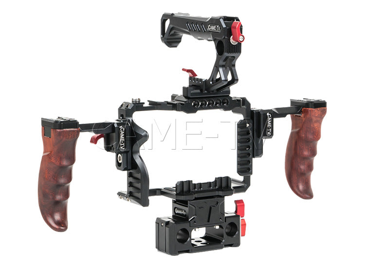 CAME-TV Sony A7SIII Camera Rig 15mm Rod System With Wooden Handles