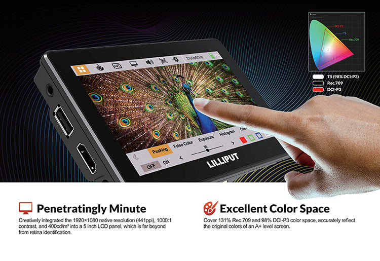 Lilliput T5 is a 5 inch 16:9 LCD capacitive touchscreen monitor