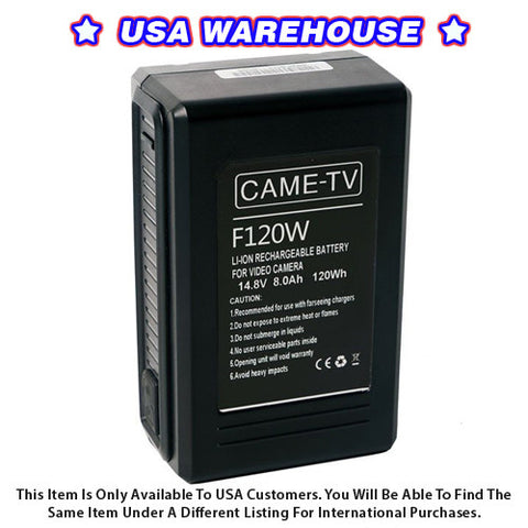 CAME-TV Compact V-Mount Li-Ion Battery 120Wh - USA Warehouse