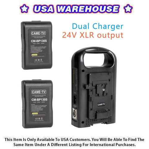 CAME-TV V-Mount Battery Charger 24V XLR Output With Two 130 Watt Compact Batteries - USA Warehouse